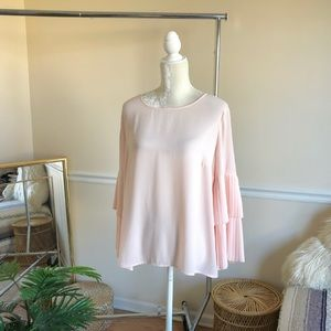 1. State Pleated Wide Sleeve Pink Blouse Sz L